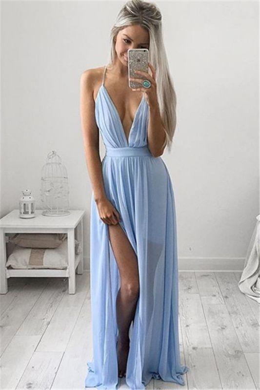Deep V-neck Sexy Formal Dress Spaghetti Straps Baby Blue Prom Dresses CE054