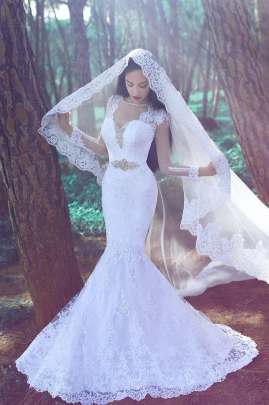 Sexy Mermaid Long Sleeve Wedding Dresses Cheap Crystal Lace Custom Made Bridal Gowns