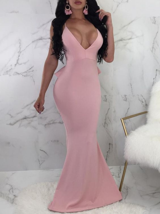 Sexy Pink Spaghetti Strap Bodycon Evening Dress | Cheap Evening Gown