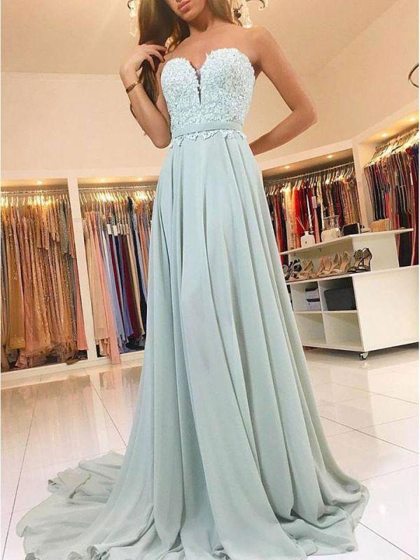 Newest Lace Chiffon A-line Evening Dress | Sleeveless Evening Dress
