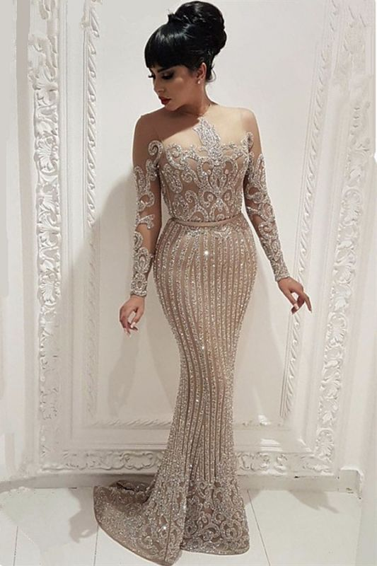 Sparkly Beads Sequins Long Formal Dresses     Mermaid Long Sleeve Nude Lining Prom Dresses BC0635