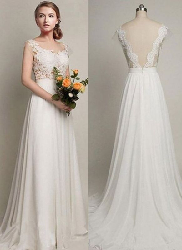 Elegant Sweep Train A-Line Bridal Gowns | Sleeveless Chiffon Wedding Dresses Cheap Online