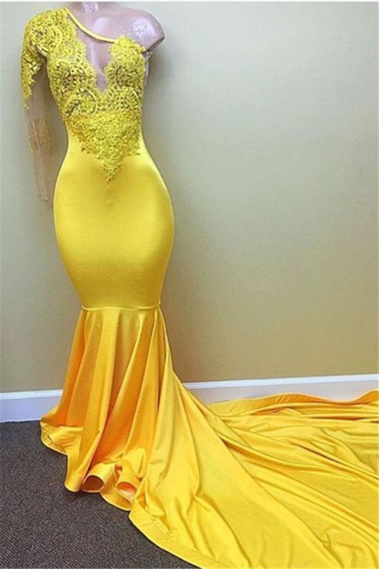 Lace Appliques Yellow Long Prom Dresses Cheap for Juniors | One Sleeve Evening Gowns BA7778