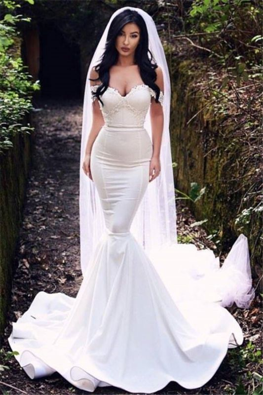 Sexy Off The Shoulder Wedding Dresses Cheap | Mermaid Court Train Bride Dresses 2019