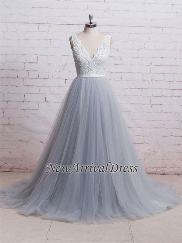 A-line Sweep-Train V-neck Tulle Lace Skirt Bodice Prom Dresses