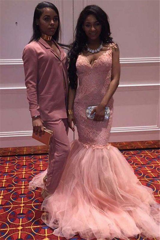 Sleeveless Mermaid V-Neck Pink Straps Long Lace Prom Dresses