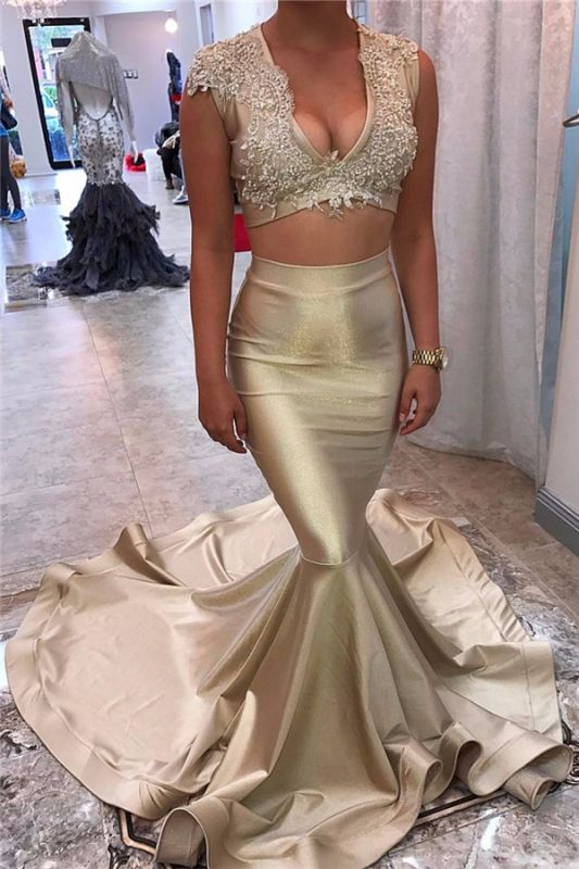 Champagne-Gold Sexy Lace Appliques Long-Train Mermaid V-neck Sleeveless Two-Piece Prom Dress
