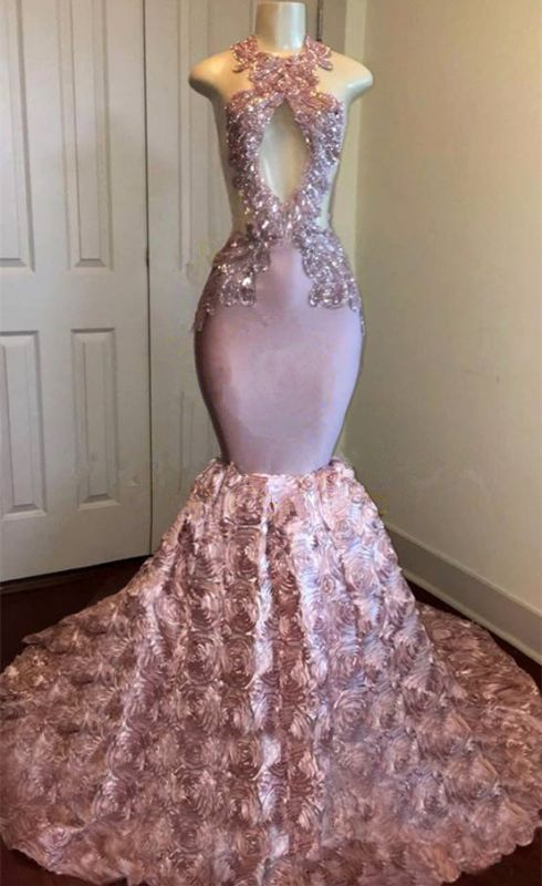 Open Back Pink Mermaid Junior Long Prom Dresses Cheap Onine | Sleeveless Lace Appliques Formal Dresses