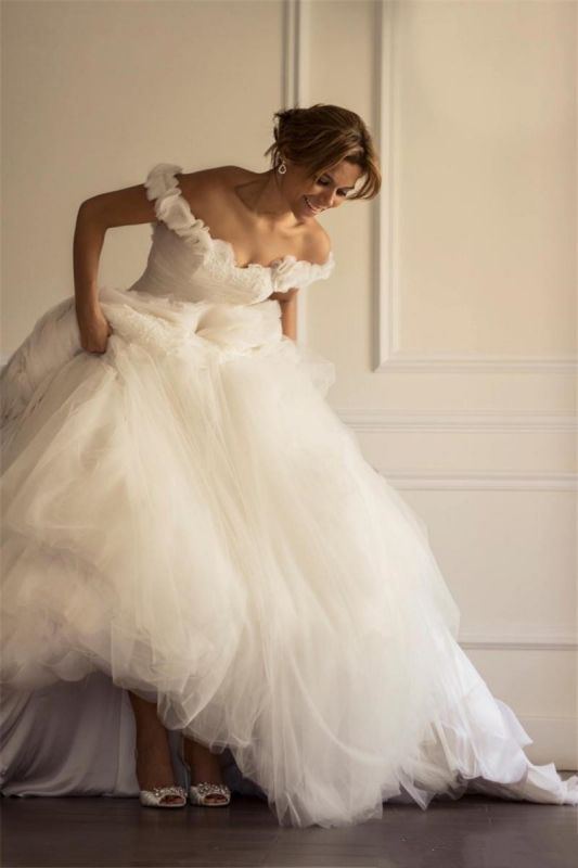 Glamorous Tulle Sexy Off The Shoulder Wedding Dresses   Open Back Bridal Gowns