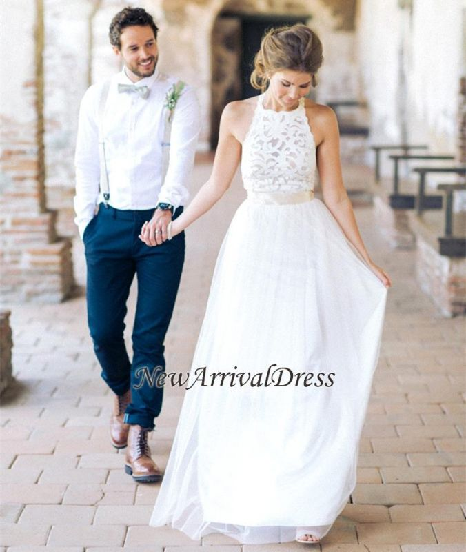 Sash Appliques A-line With Halter Lace Tulle Prom Dress