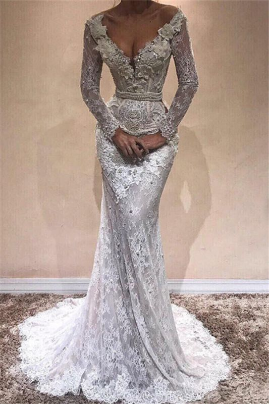 Lace Mermaid Long Sleeve Wedding Dresses | Sexy Open Back Long Evening Dresses with Pearl Chains