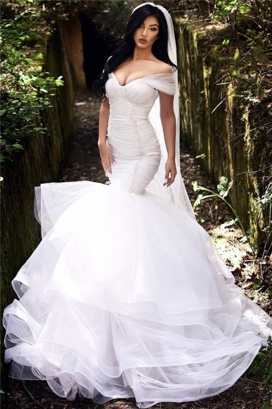 Mermaid Off The Shoulder Wedding Dresses 2021 | Tiered Tulle Sexy Beads Bride Dresses Cheap