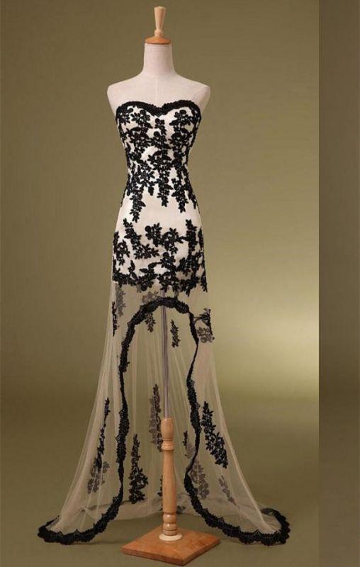 Delicate Sweetheart Sleeveless Hi-Lo Custom Made A-line Prom Dresses Cheap