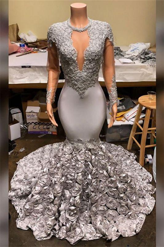 Silver Mermaid Plus Size Long Prom Dresses Cheap | Lace Appliques Flowers Evening Gowns