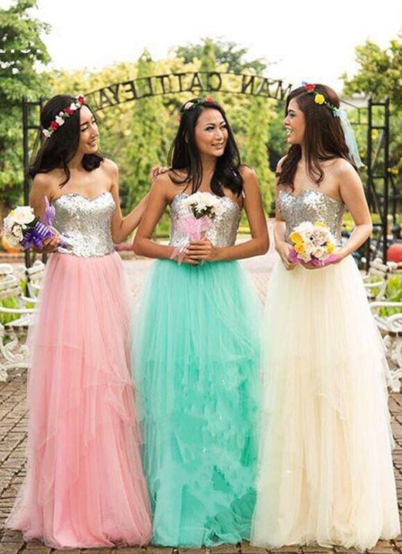Simple Cheap Sweetheart Tulle Sequined A-Line Bridesmaid Dresses