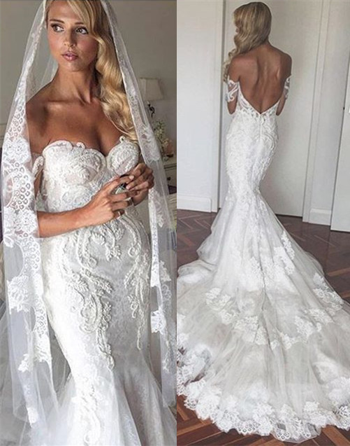 Appliques Tulle Elegant Tiered Mermaid Backless Off The Shoulder Wedding Dresses Cheap Online
