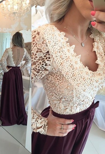 Burgundy Long Prom Dresses Lace Long Sleeves Pearls Sheer Backless Elegant A-line Evening Gowns