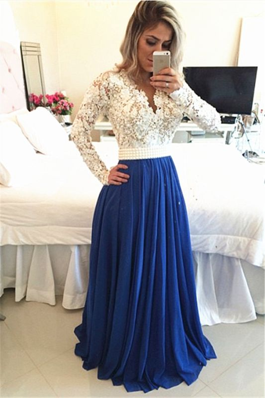 Long Sleeves Lace Pearls Chiffon Prom Dresses V Neck White&Blue Evening Gowns BT00