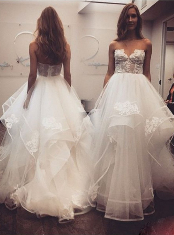 Elegant New Arrival A-line Sweetheart Lace Tulle Wedding Dresses