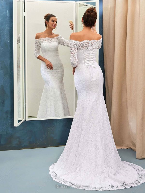 Sexy Off The Shoulder Lace Wedding Dresses with Half Sleeve | Lace Up Mermaid Cheap Simple Bridal Gowns