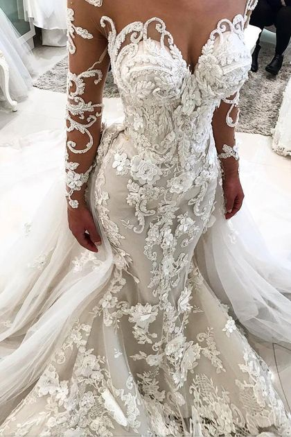 Elegant New Arrival Beautiful Lace Appliques Mermaid Wedding Dresses | Long Sleeve Online Cheap Bridal Gowns BA9786