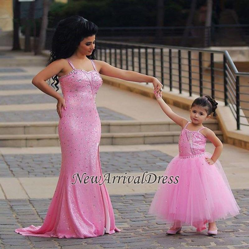 Spaghetti-Straps Sexy Open-Back Sequined Crystal Mermaid Pink Prom Dress