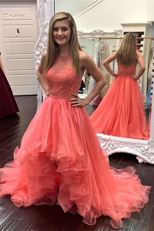 Modern Ruffles Hi-Lo Beading Sleeveless Prom Dress