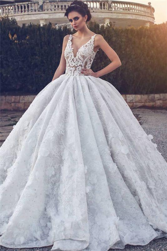 Spitzenapplikationen Sexy ärmellose Brautkleider | Prinzessin Ballkleid V-Ausschnitt Günstige Brautkleider