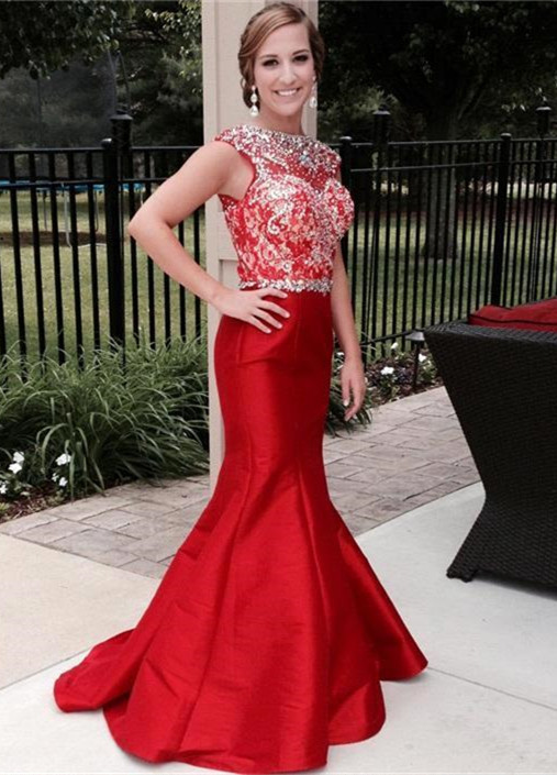 Gorgeous Crystal Mermaid Red Prom DressSleeveless Sweep Train