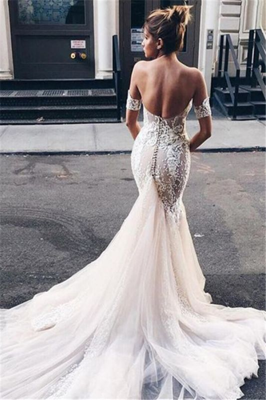 Strapless Mermaid Bridal Dresses Open Back | Sexy Sweetheart Wedding Dresses with Long Tulle Train