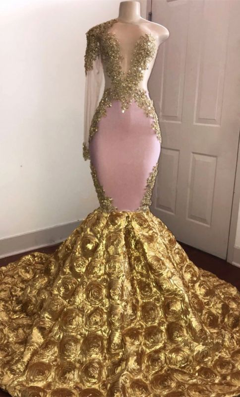 Gold Mermaid Junior Long Prom Dresses Cheap | One Sleeve Beads Appliques Plus Size l Dresses bc1386