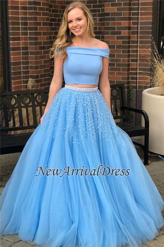 Popular Beads Two-Piece Off-The-Shoulder Elegant Blue Evening Dresses
