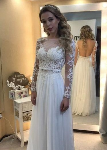 Simple Open Back Chic Long Sleeve Lace A-line Floor-length Wedding Dresses Cheap