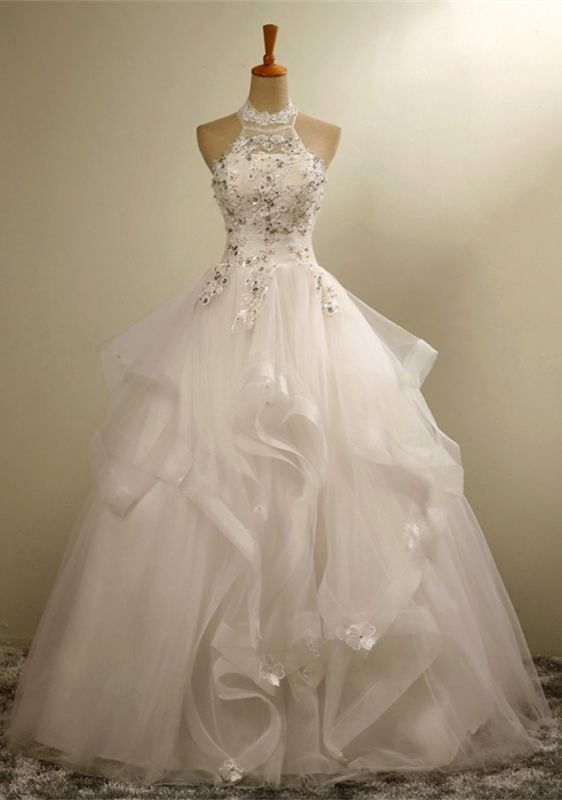 High Neck Lace Appliques Beads Sleeveless Ruffles Ball Gown Wedding Dresses