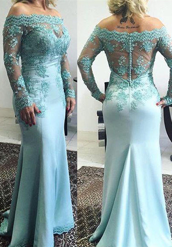 33b48e405227 Delicate Lace Appliques Off-the-shoulder Long Sleeve Mermaid Zipper Prom  Dress  Item Code  D153793121711270