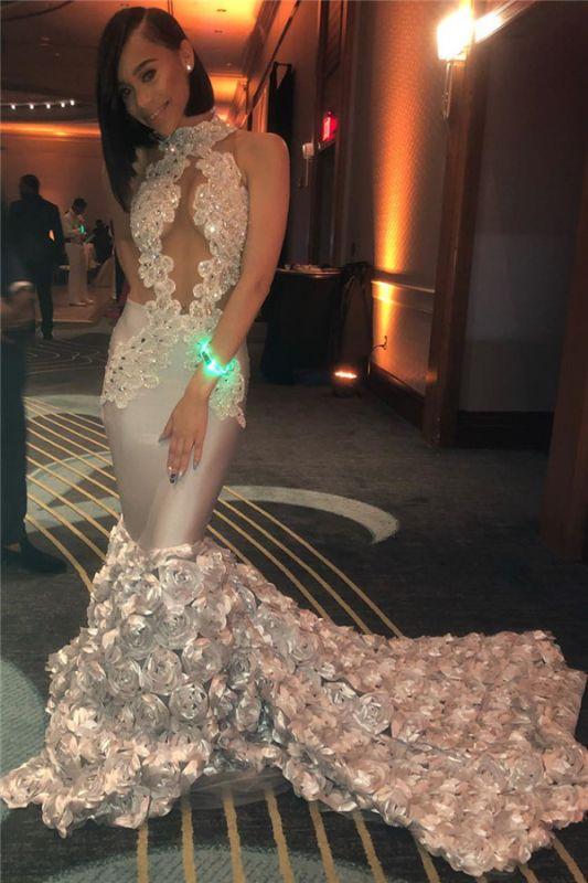 Sirène à volants fleurs sexy robes de bal sans manches 2020 | Perles Appliques Robe De Graduation Pas Cher Sans Manches BC1201