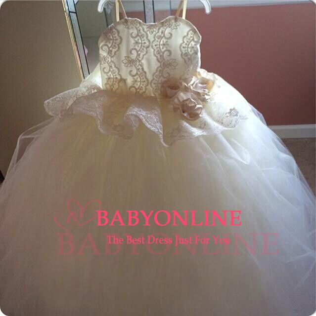 Flower Girl Dresses Spaghetti Straps Lace Appliques Tulle Flower Bowknot Zipper Girl Pageant Gowns BO6046