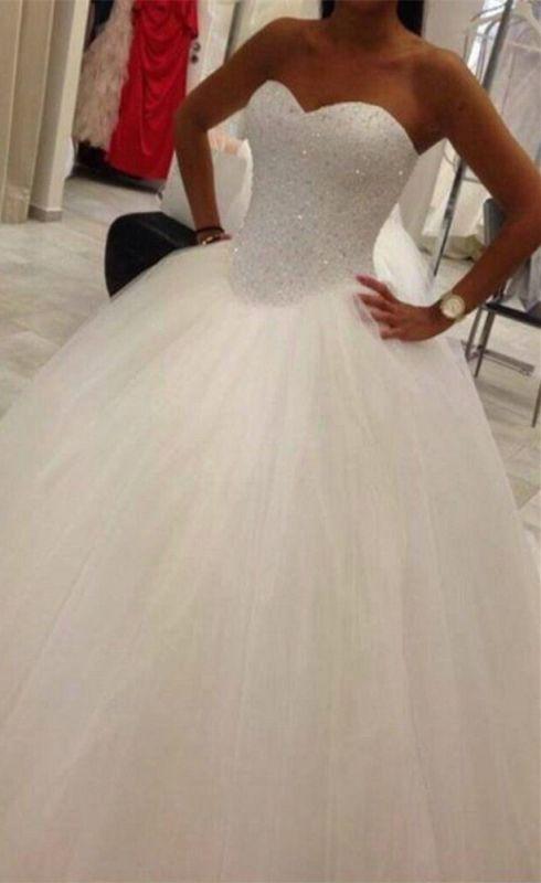 Elegant Sweetheart Tulle Wedding Ball Gowns Beading Sequins Bridal Dresses