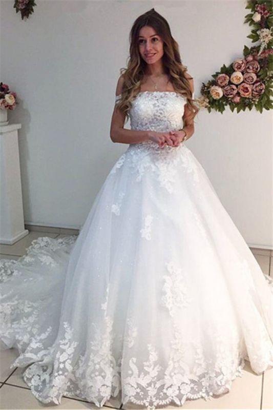 Lace Strapless Online Appliques Off The Shoulder New Arrival A-line Wedding Dresses