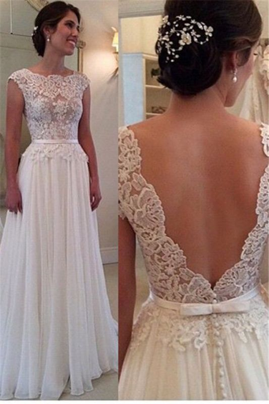 Lace Chiffon Elegant Wedding Dress with Bowknot Sash Open Back Dresses for Bridal BA52