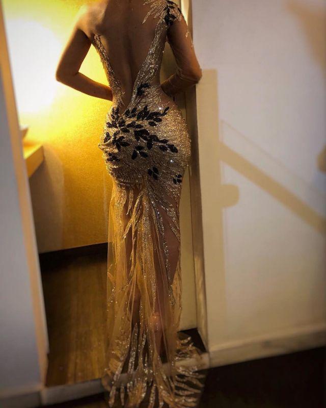 Gorgeous One Shoulder V-Neck Sheath Backless  Prom Dresses