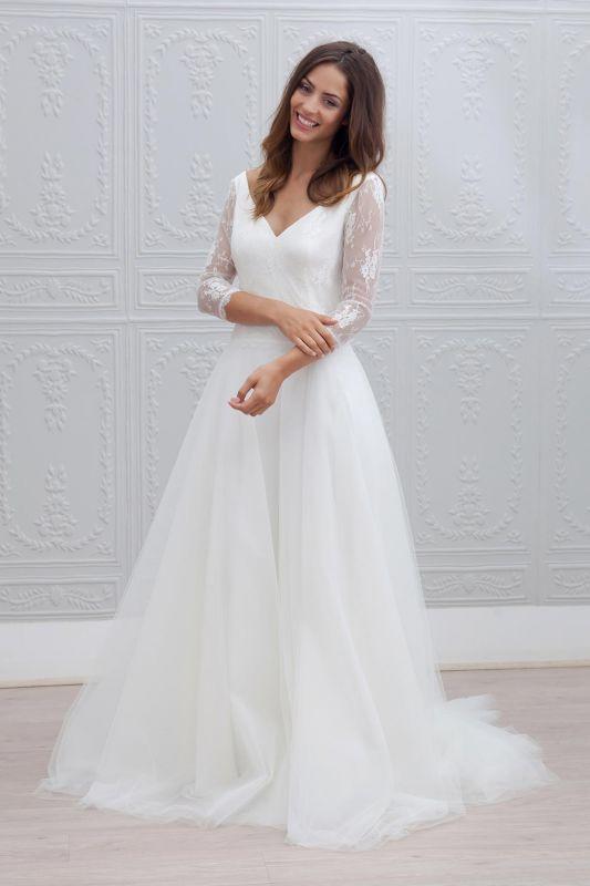 Sweep Train Simple Open Back V-neck A-line Wedding Dresses Cheap