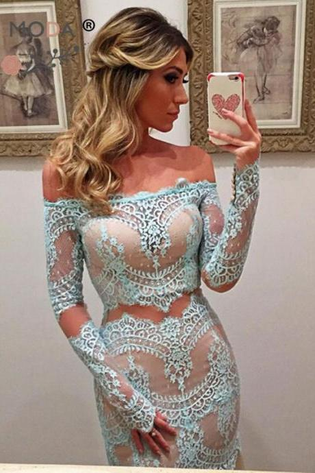 Delicate Lace Off-the-shoulder Long Sleeve Mermaid Prom Dress