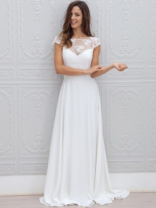Beautiful Simple Short Sleeve Elegant A-Line Sweep Train Open Back White Wedding Dresses