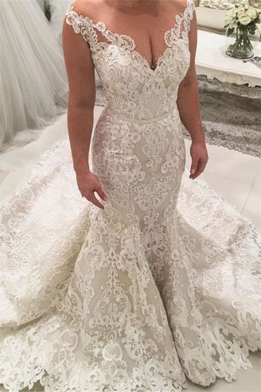 2019 Mermaid Lace Wedding Dresses Cheap | Sheer Tulle Sleeveless Sexy Bridal Gowns with Long Train