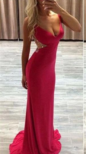 Modern Red Crystals MermaidProm Dress Sweep Train Zipper