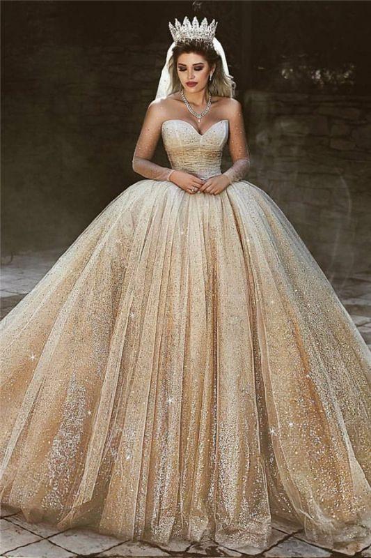 Sparkling Tulle Floor Length Wedding Dresses | Elegant Long Sleeve Bridal Dresses with Sequins