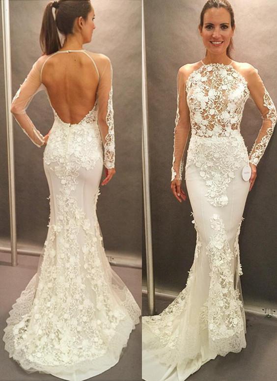 Open Back Glamorous Elegant Lace Appliques Long Sleeve Mermaid Wedding Dress Cheap