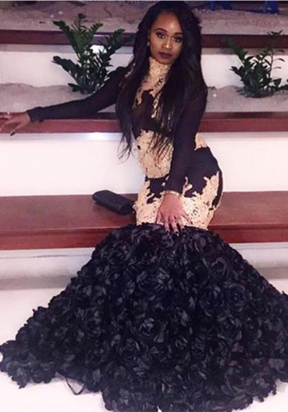 Black Long Sleeve Mermaid Prom Dress, black prom dress