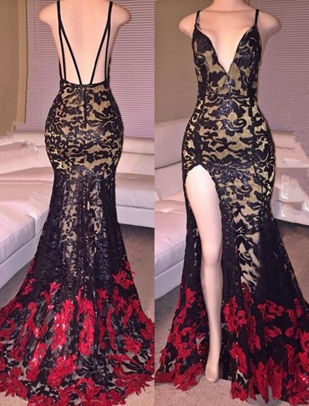 Side Slit Black Mermaid Spaghetti Straps Lace Red Long Prom Dresses Cheap